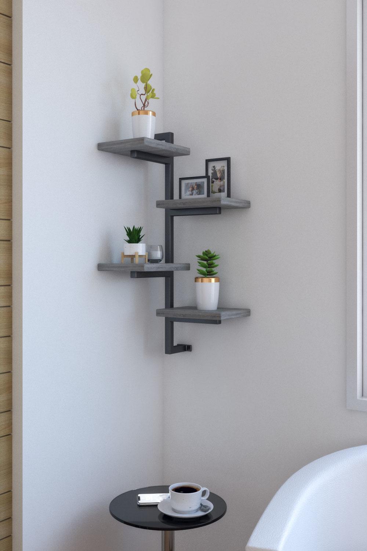 Rustic style corner wall shelf