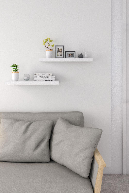 best modern minimalist white wall shelves