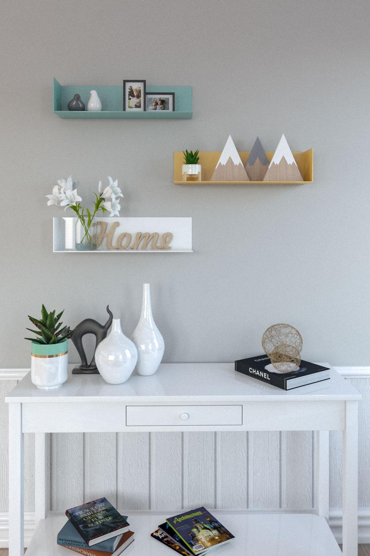 Scandinavian style l-shaped metal floating shelf