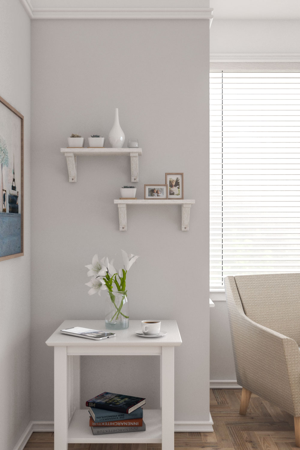 Decorative floating shelves with wooden brackets