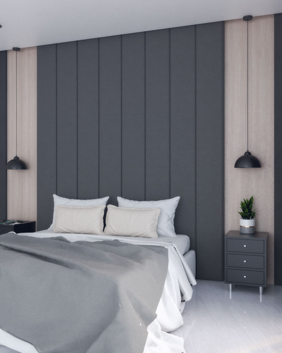 Small Modern Black Bedroom With Wood Accent Roomdsign Com