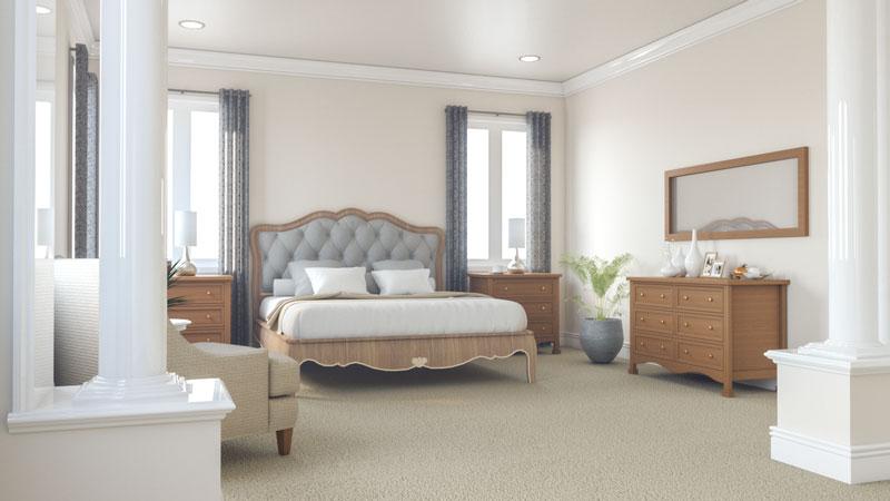 Classic Beige Roman Style Master Bedroom Design