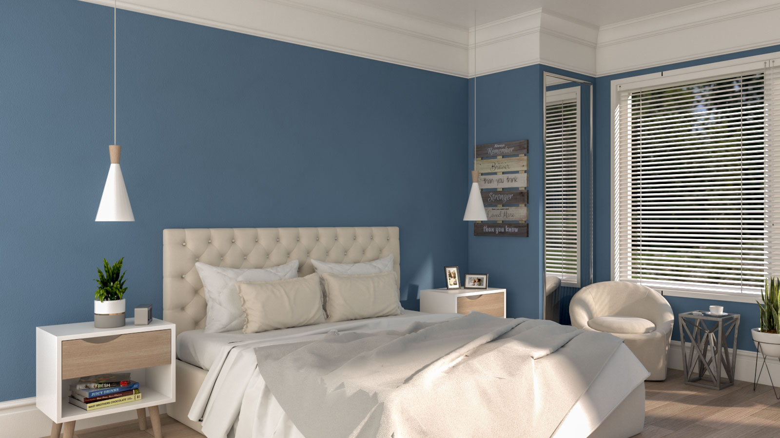 Classic blue and white bedroom