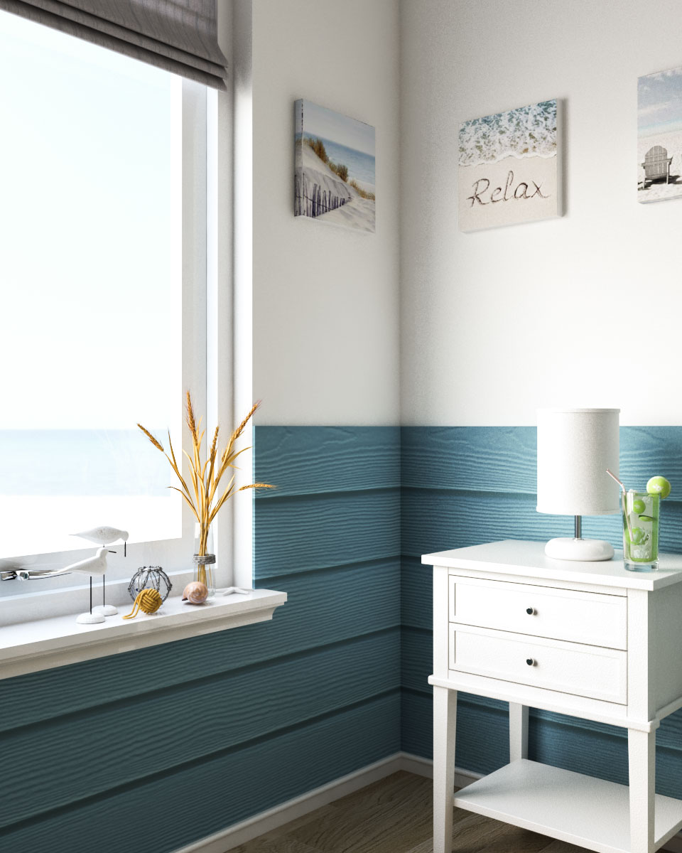 Coastal blue and white wall ideas