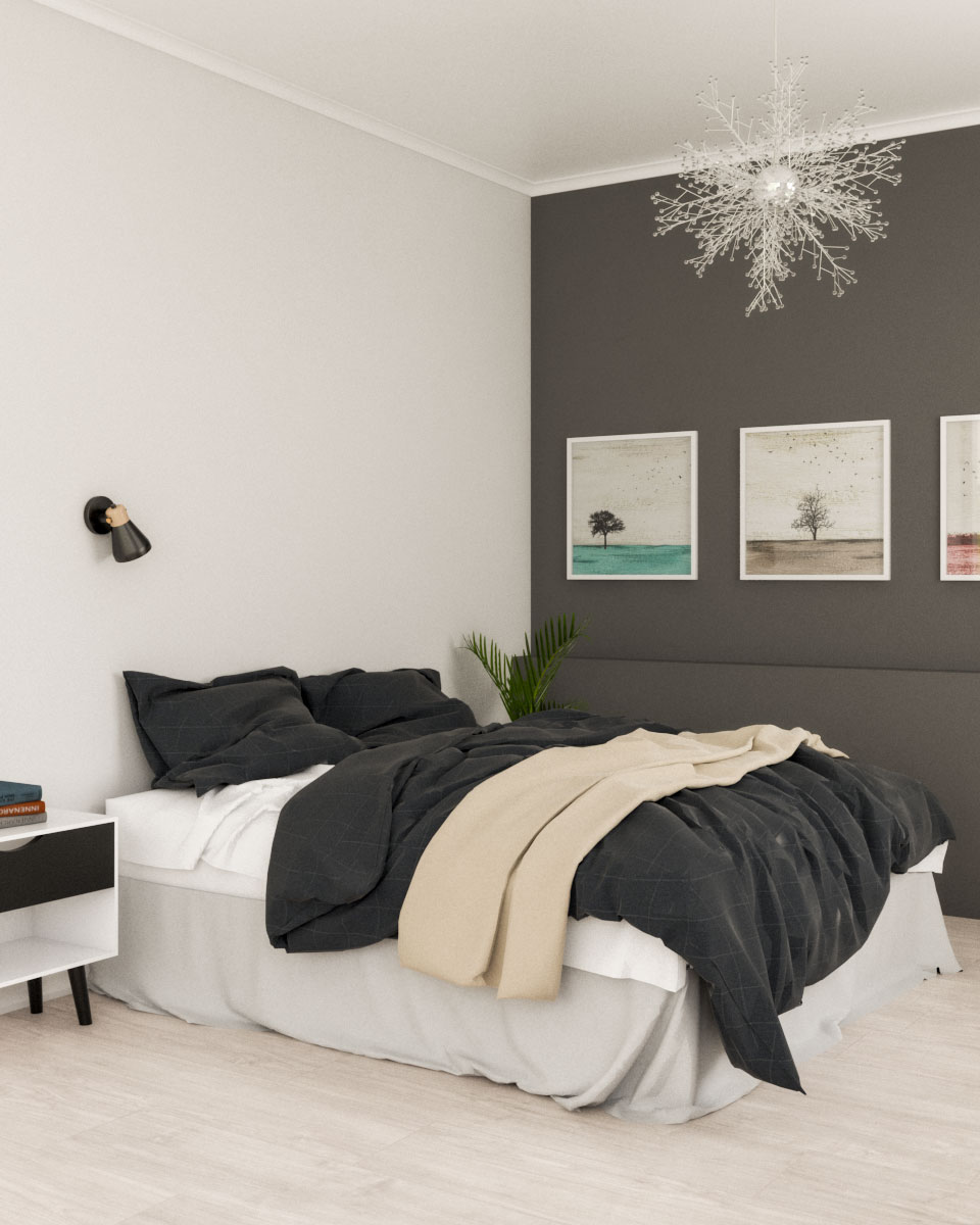 Modern contemporary grey scandinavian bedroom design