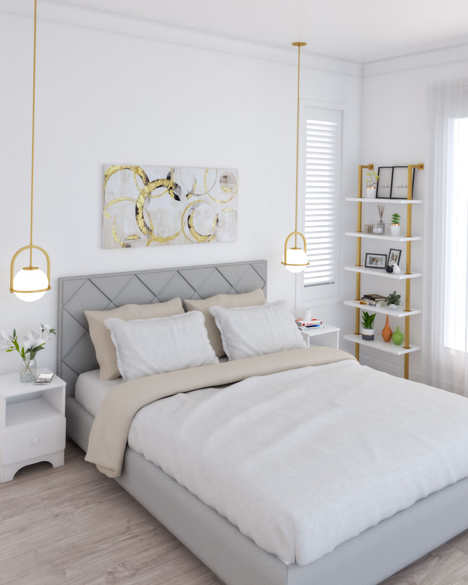 Glamour white and gold bedroom design ideas