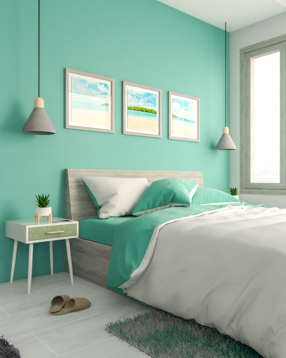 Teal and Grey Bedroom Decor Idea