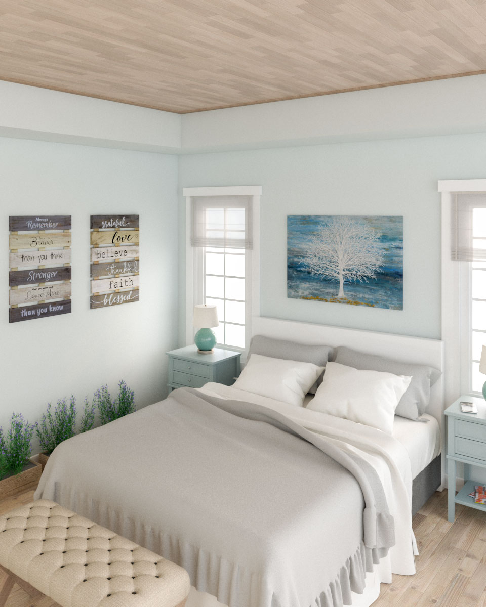 Light blue farmhouse style bedroom
