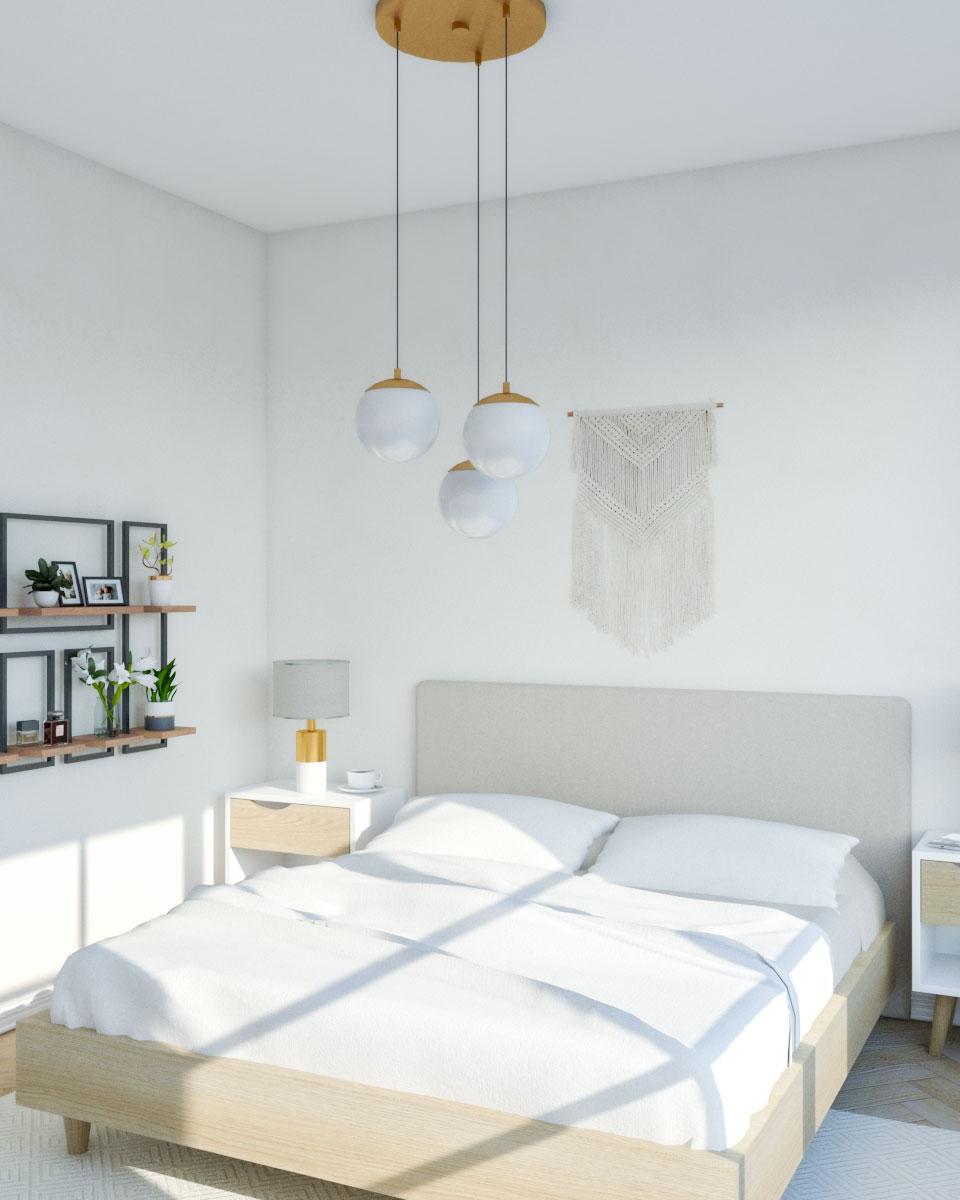 Beige Mid-Century Modern Bedroom
