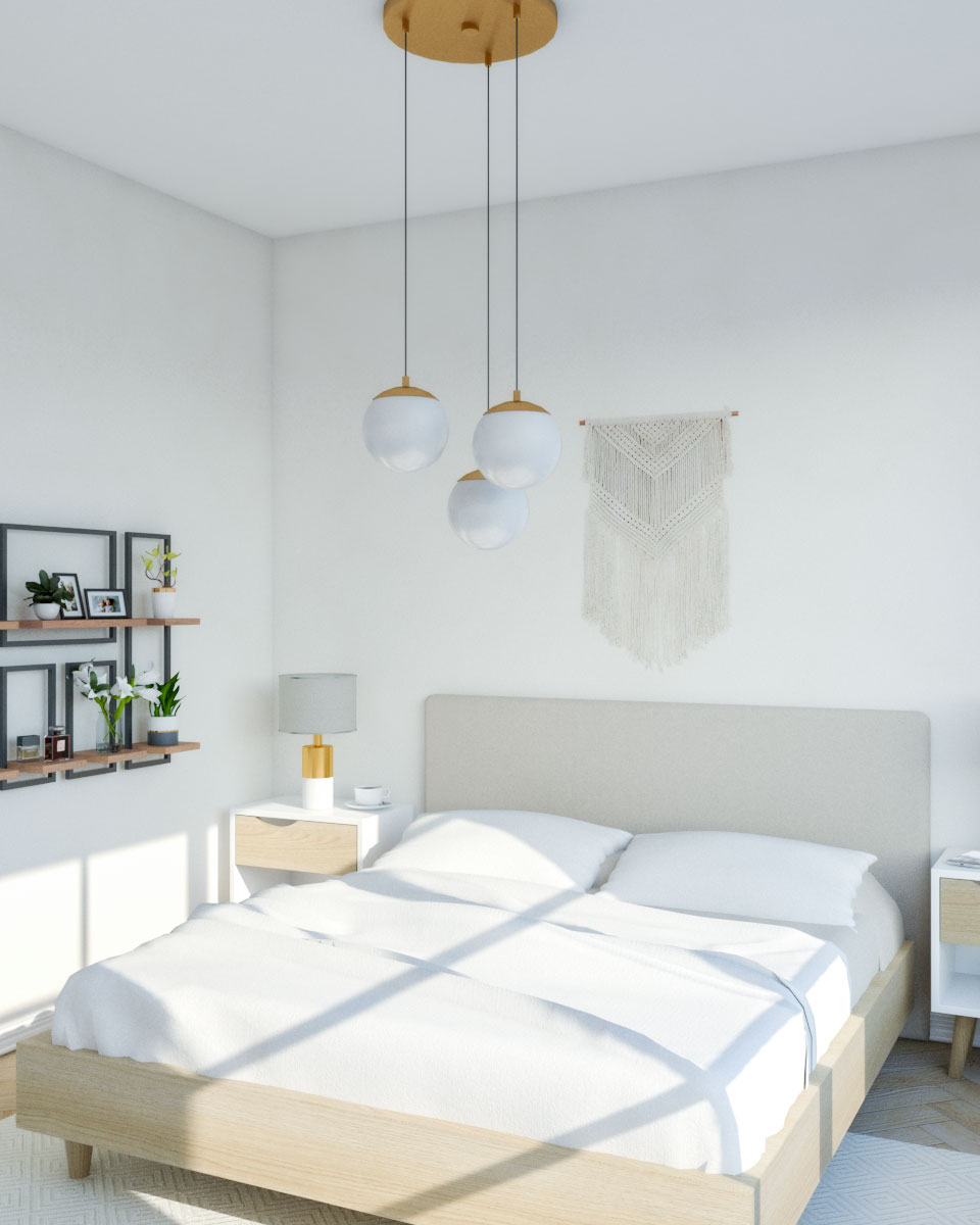 Modern mid century beige bedroom ideas