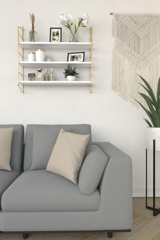 Gold and white modern floating shelves