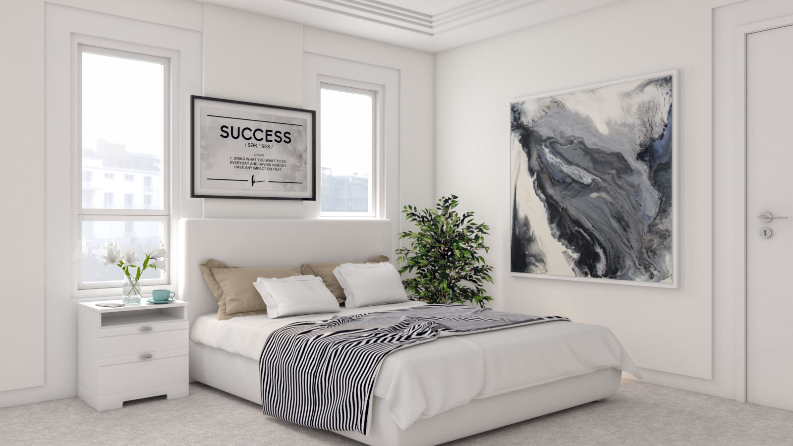Contemporary Minimalist White Bedroom Ideas