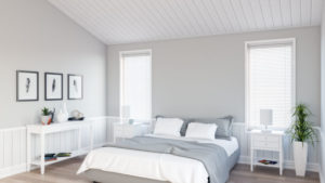Minimalist Gray and White Bedroom with Scandinavian Accent