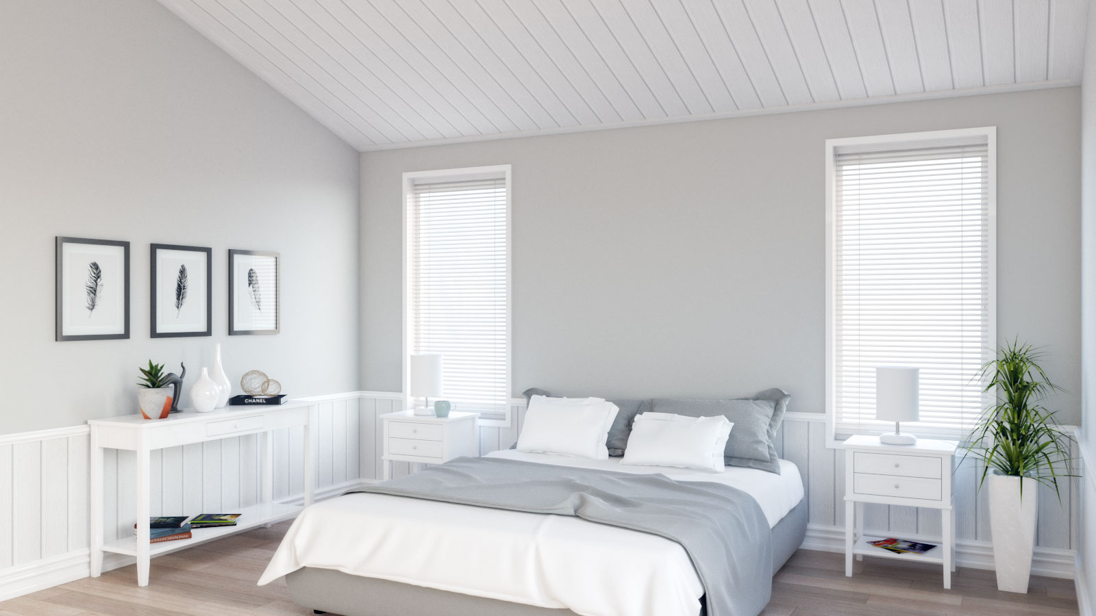Minimalist scandinavian gray bedroom