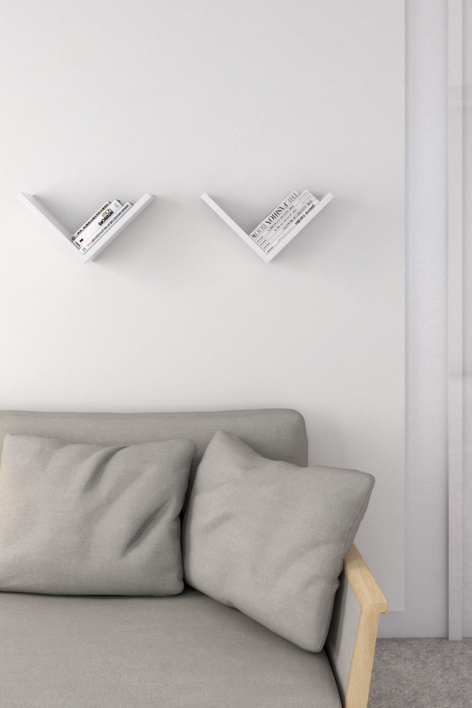 Best minimalist wall shelves - White v-shaped wall shelves