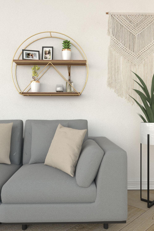 Mid-century modern brown and gold glamorous geometric style wall shelf