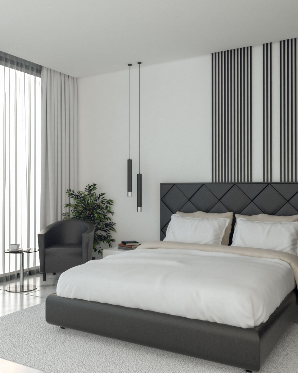 Elegant Modern Black and White Master Bedroom
