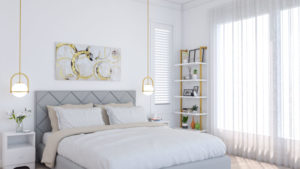 Simple but Glamorous Modern White and Gold Bedroom
