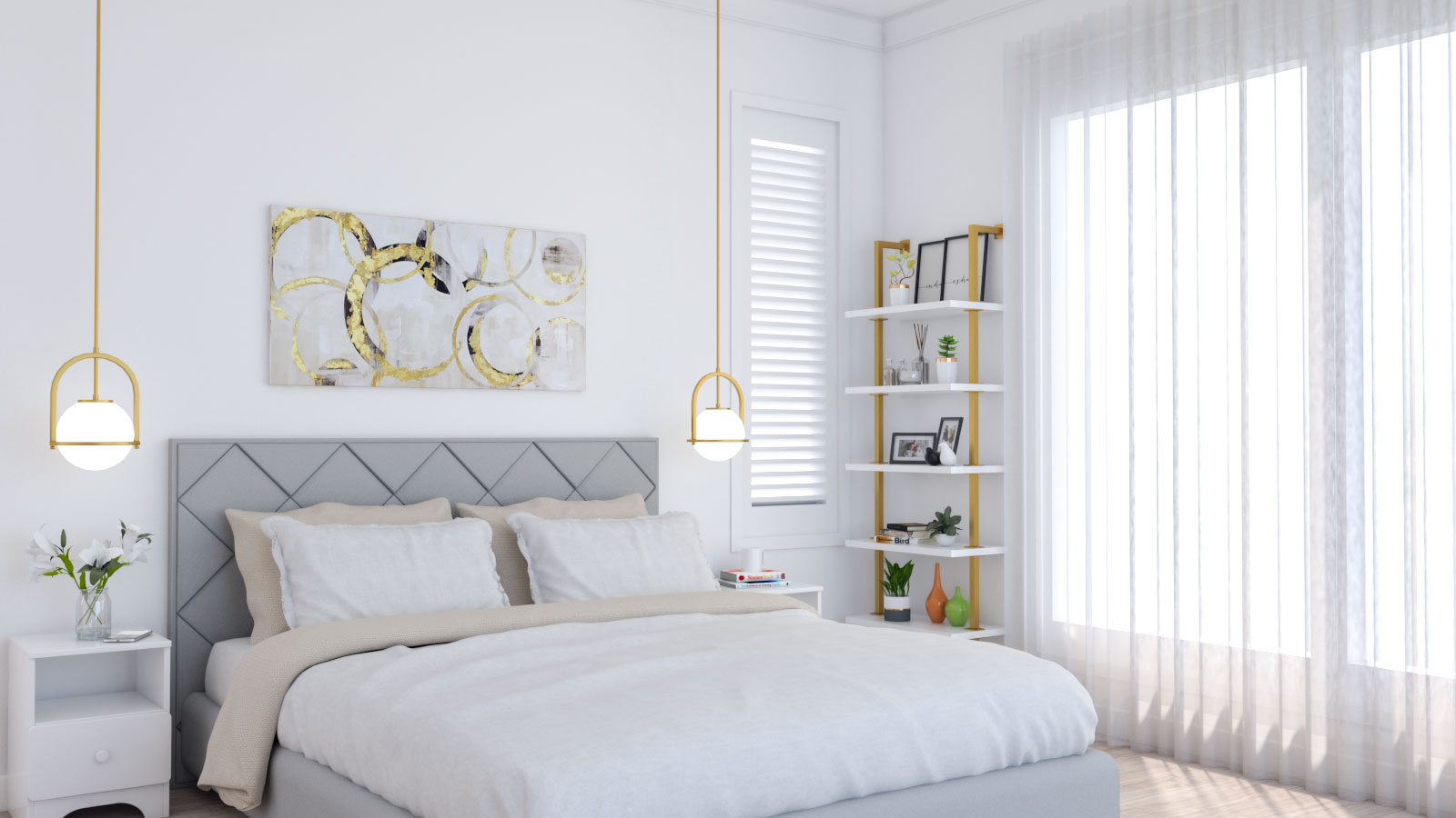 Modern white and gold bedroom ideas