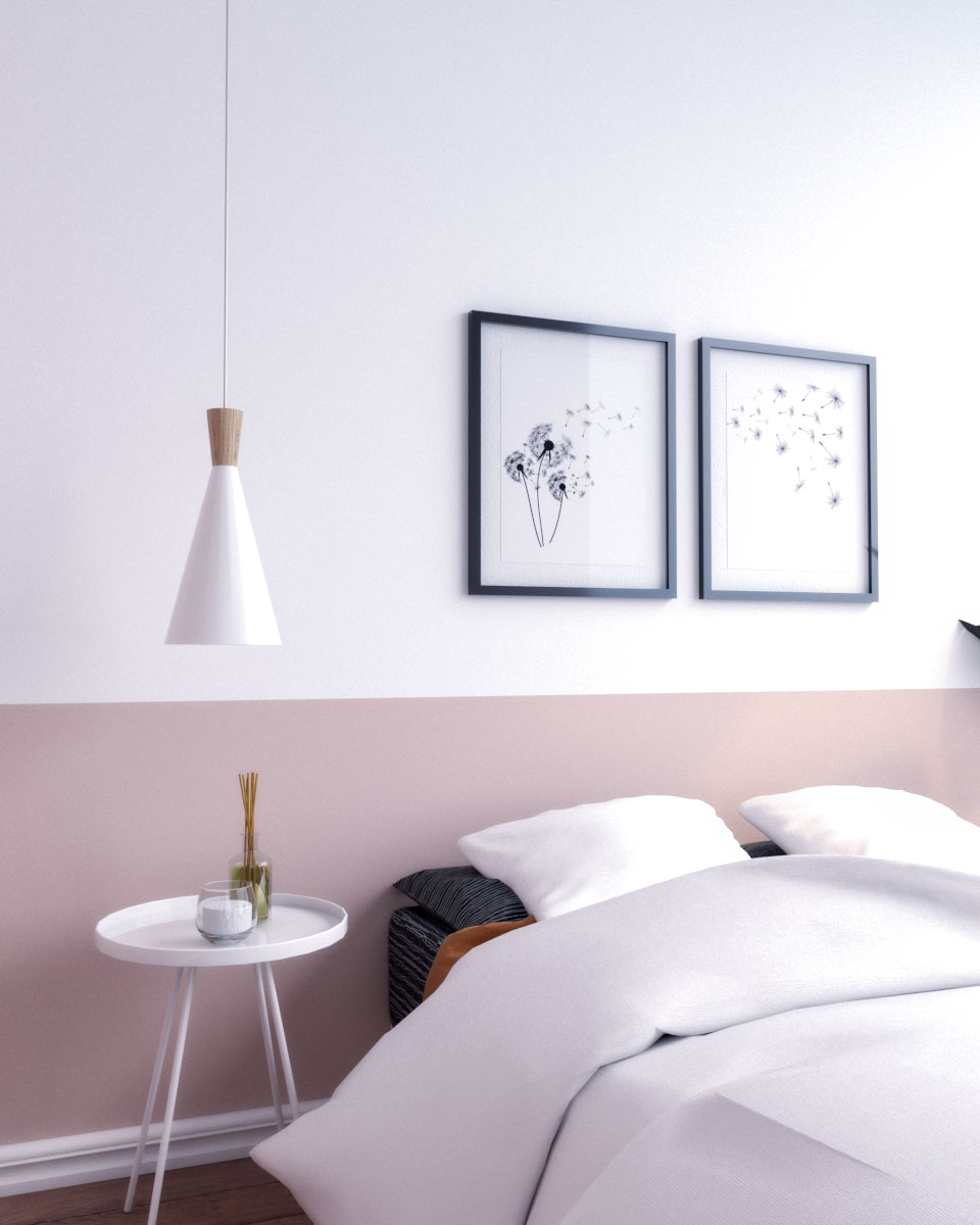 Beautiful two tone bedroom wall ideas using white and pink