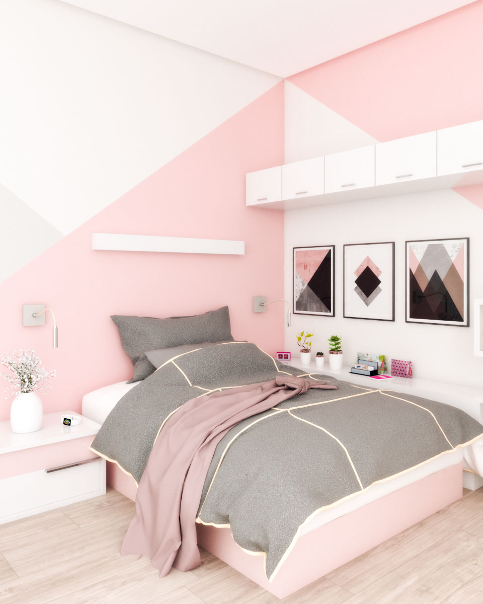 Pink small bedroom for teens