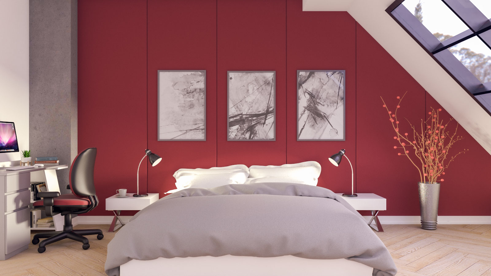 Red and grey bedroom ideas for teenager