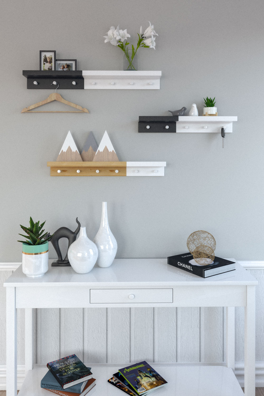 Scandinavian style shelf with metal hooks