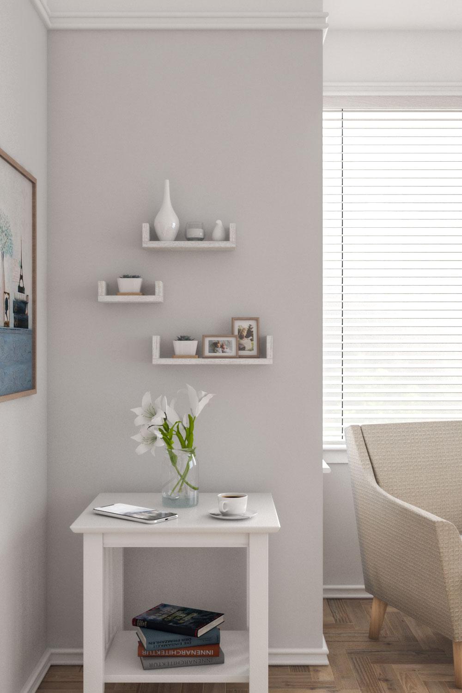 vintage u-shaped floating wall shelves
