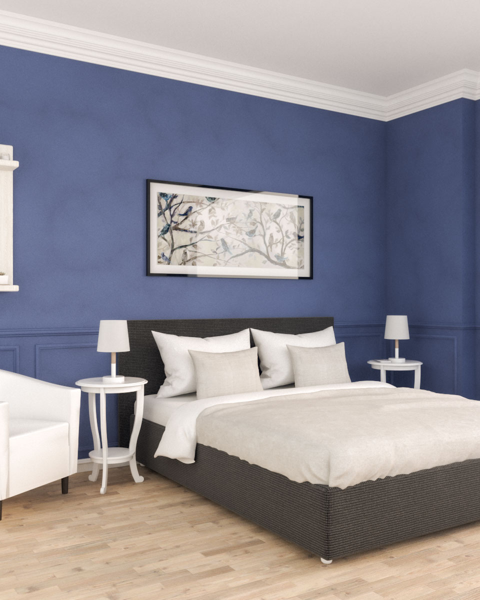 Vintage Royal Blue Bedroom Interior Design