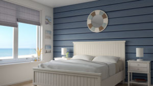 White and Blue Coastal Bedroom Design