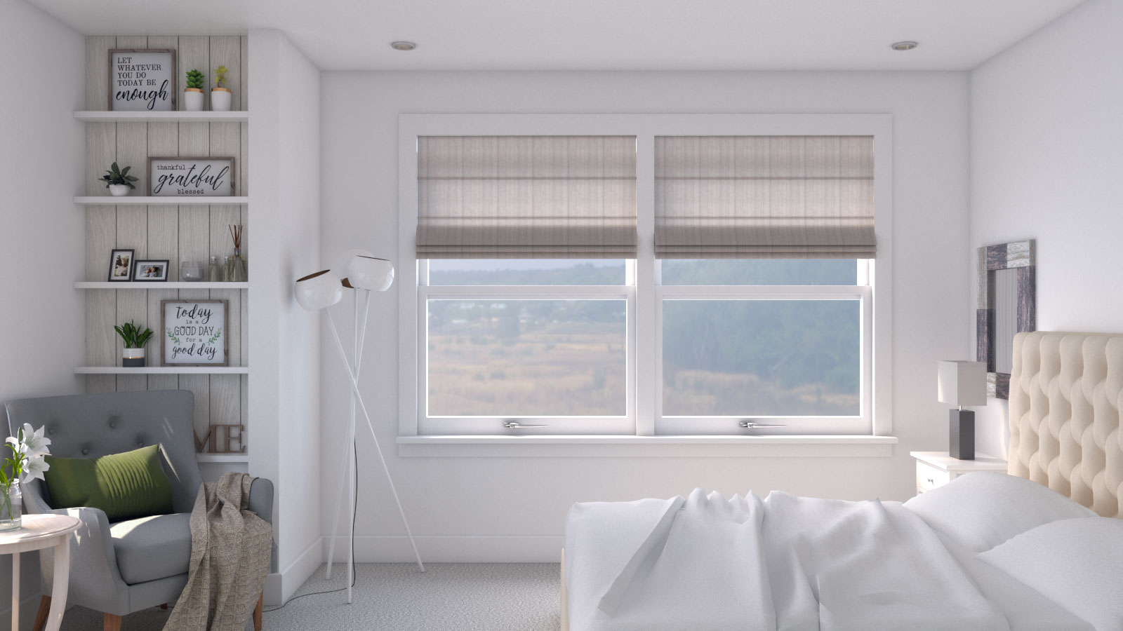 White Contemporary Farmhouse Bedroom