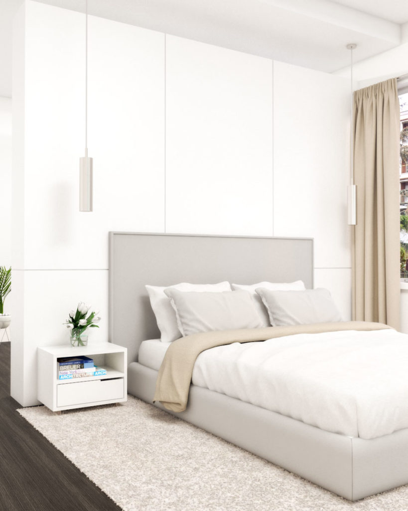 White monochrome master bedroom
