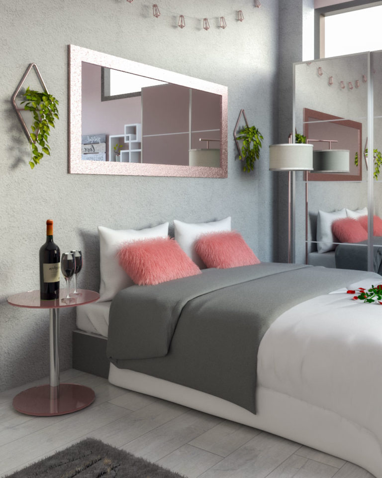 white rose gold and grey bedroom ideas  roomdsign