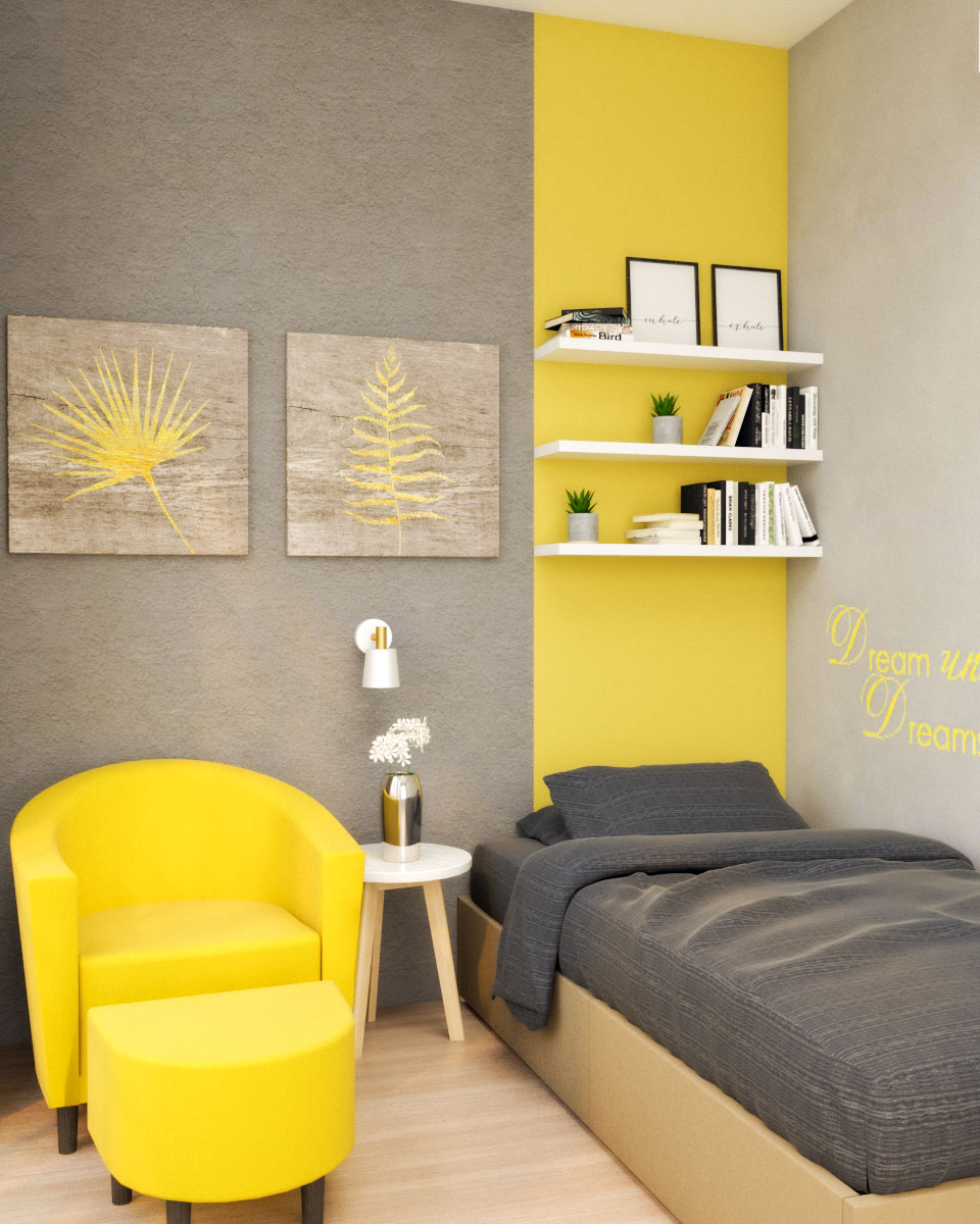 Grey and Yellow Small Bedroom with Couch