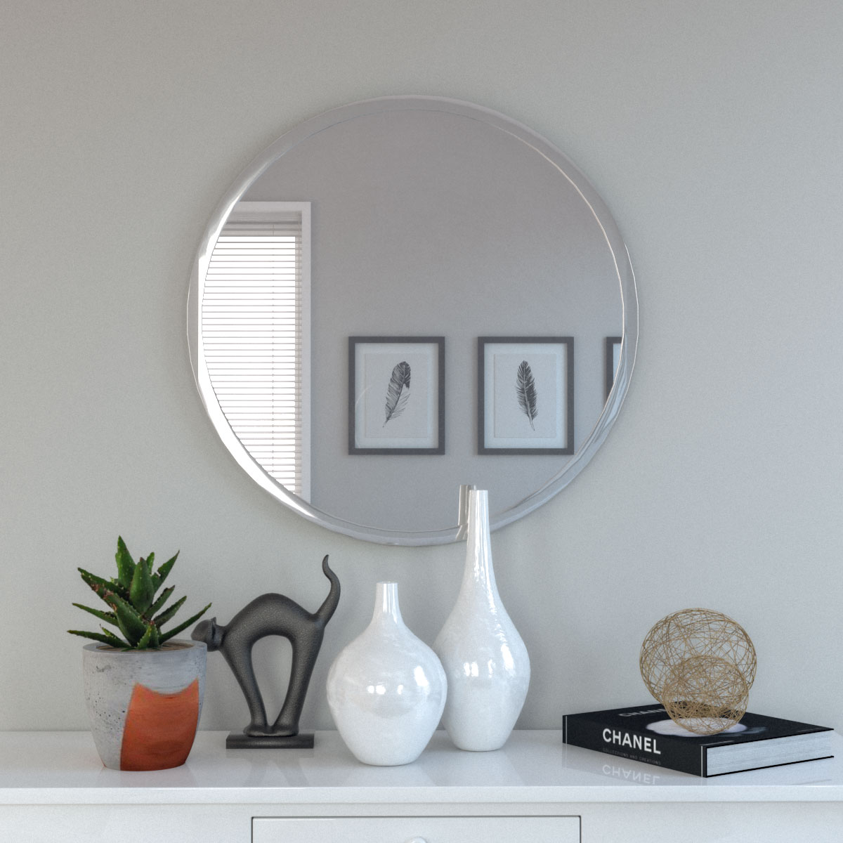 Bevel round frameless wall mirror