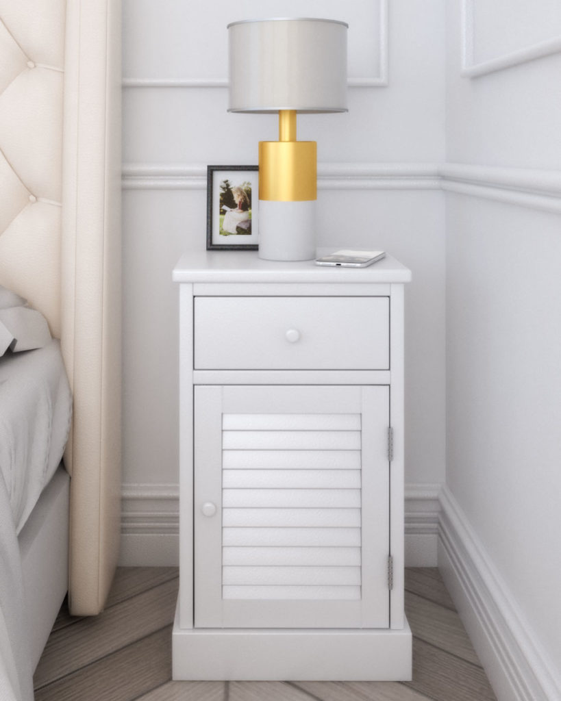 Classic style wooden white nightstand table with one drawer and slatted door