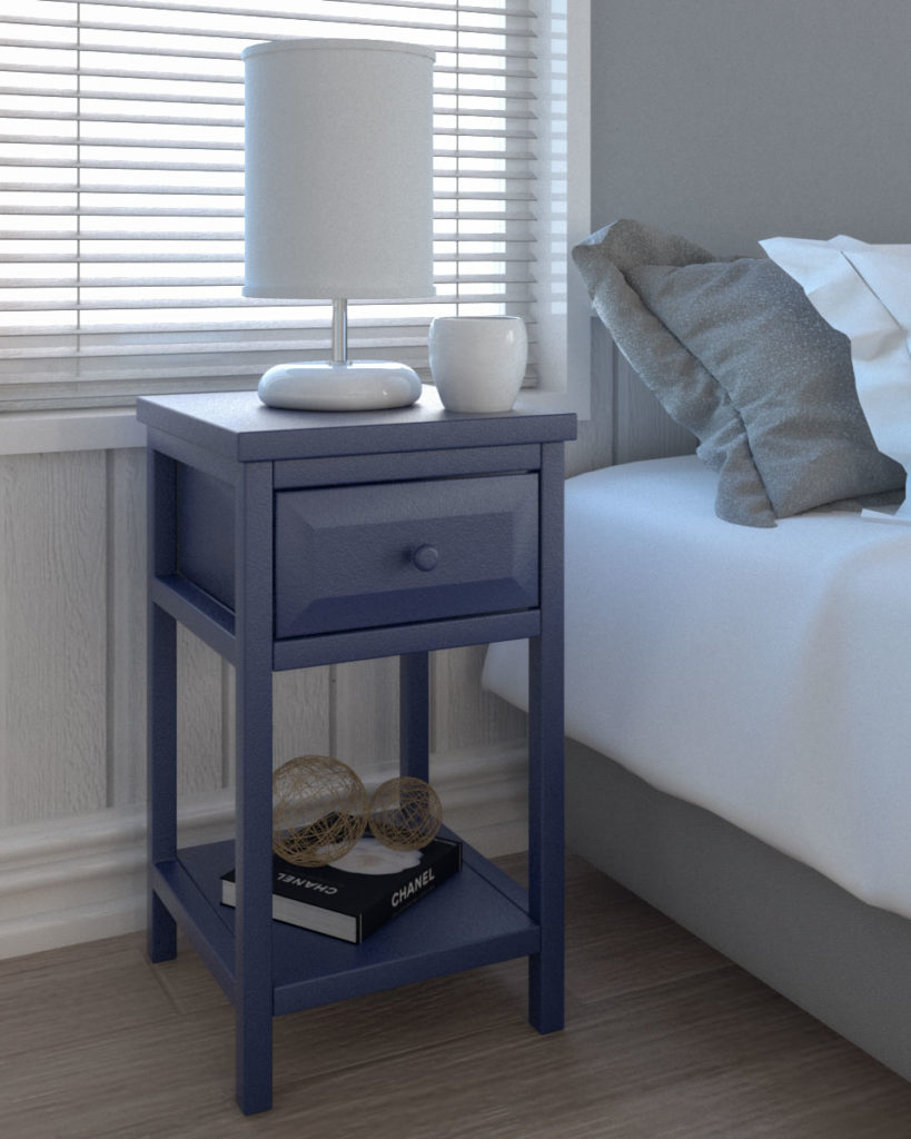 Cottage style nightstand for small sized bedroom with blue finish