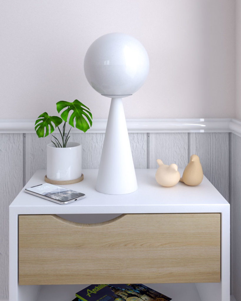 Creative white iron scandinavian bedside table lamp