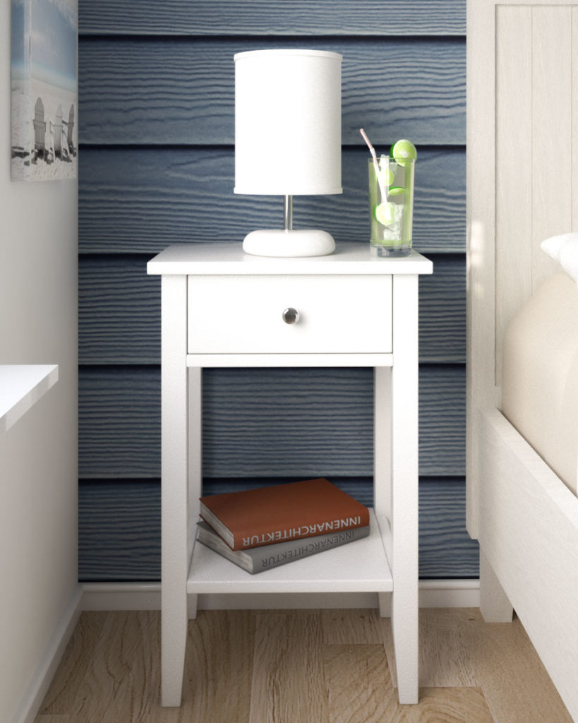 Elegant glossy white nightstand table for small sized bedroom