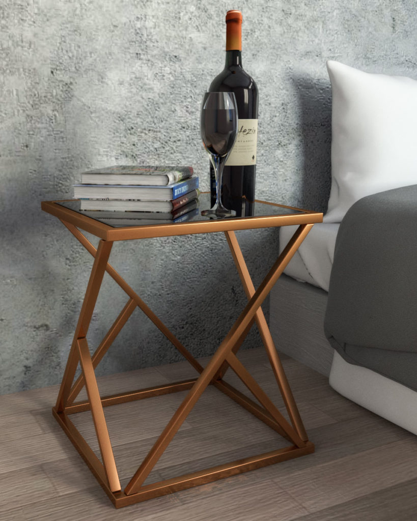 Square rose gold nightstand with geometric stand