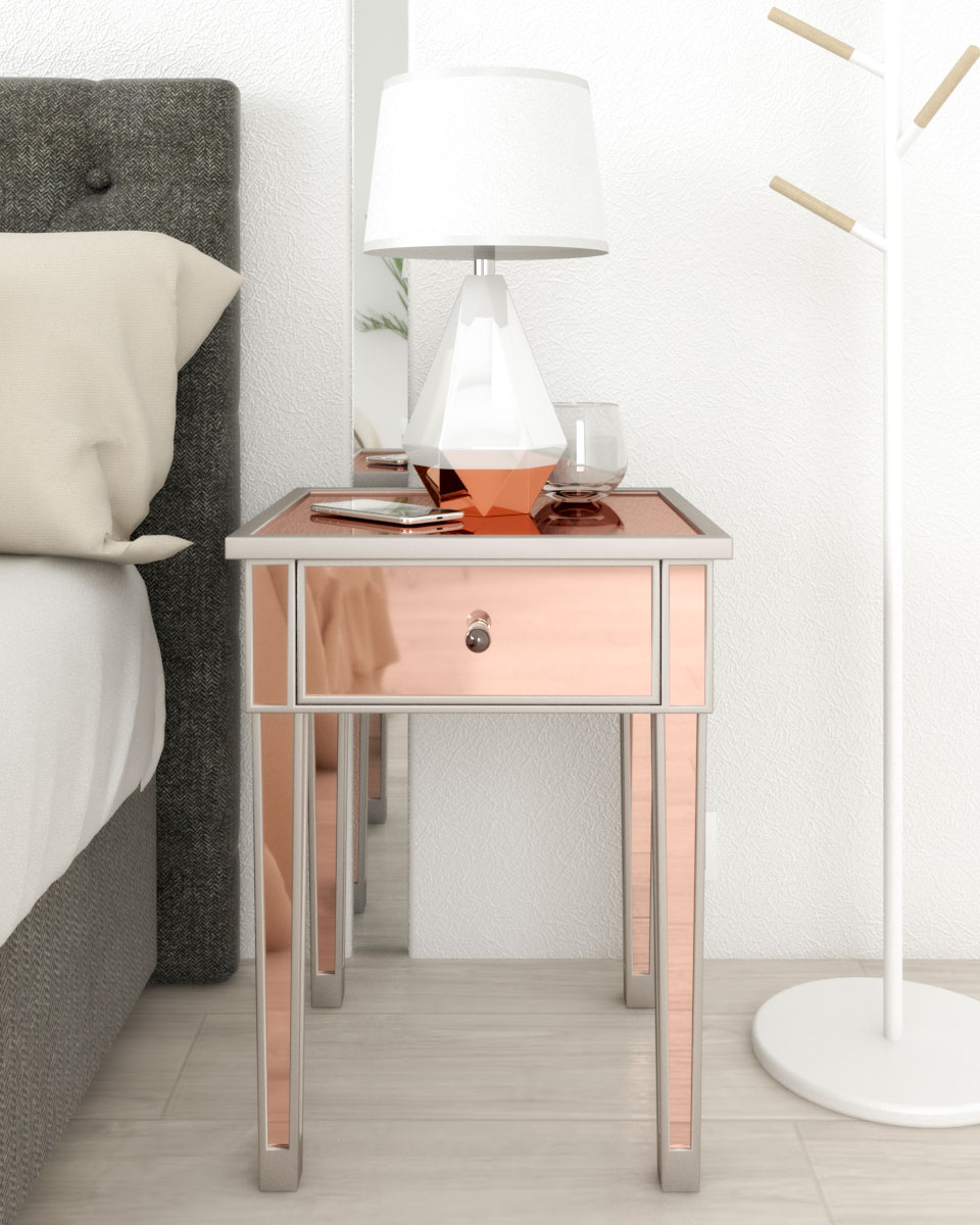 faux style rose gold and silver nightstand table