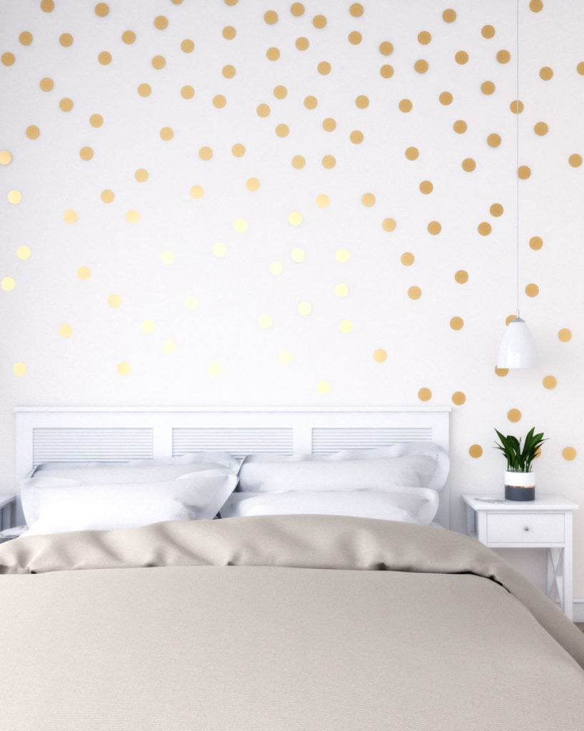 Gold wall decor using gold metallic dots wall stickers