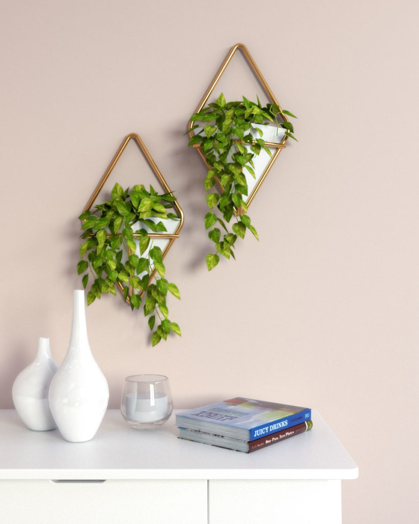 White and gold geometric wall planter