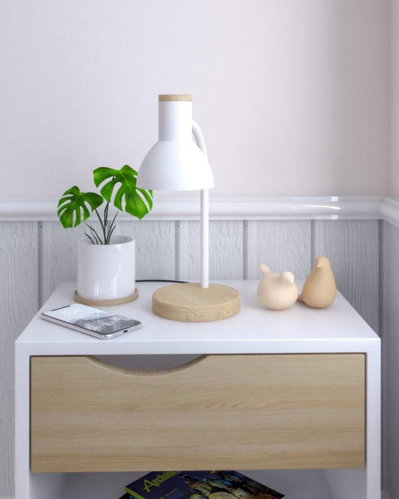 Flexible goose neck led bedside table lamp