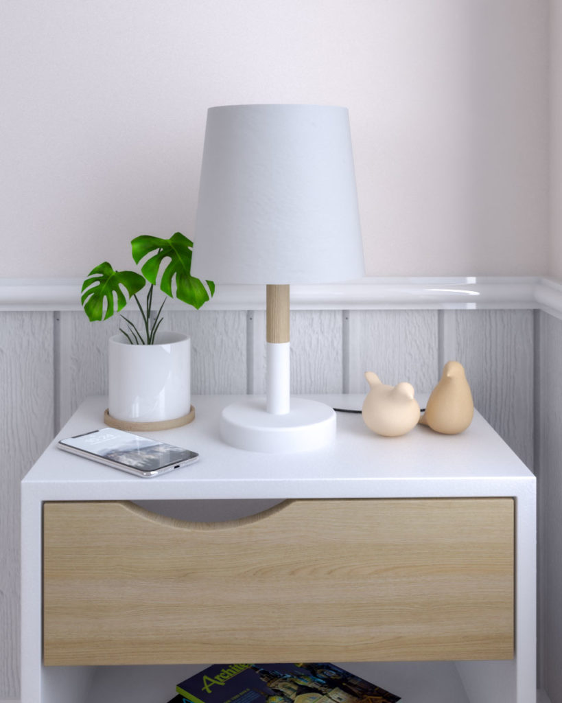 LED Scandinavian table lamp with white and wooden finish