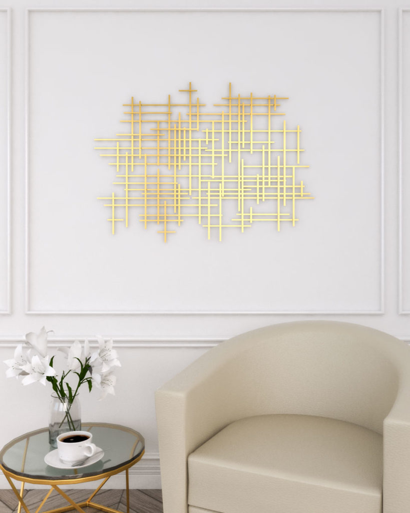 Gold wall decor with geometric cross wall art
