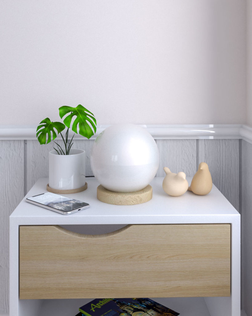 Round ball glass bedside table lamp with wood base