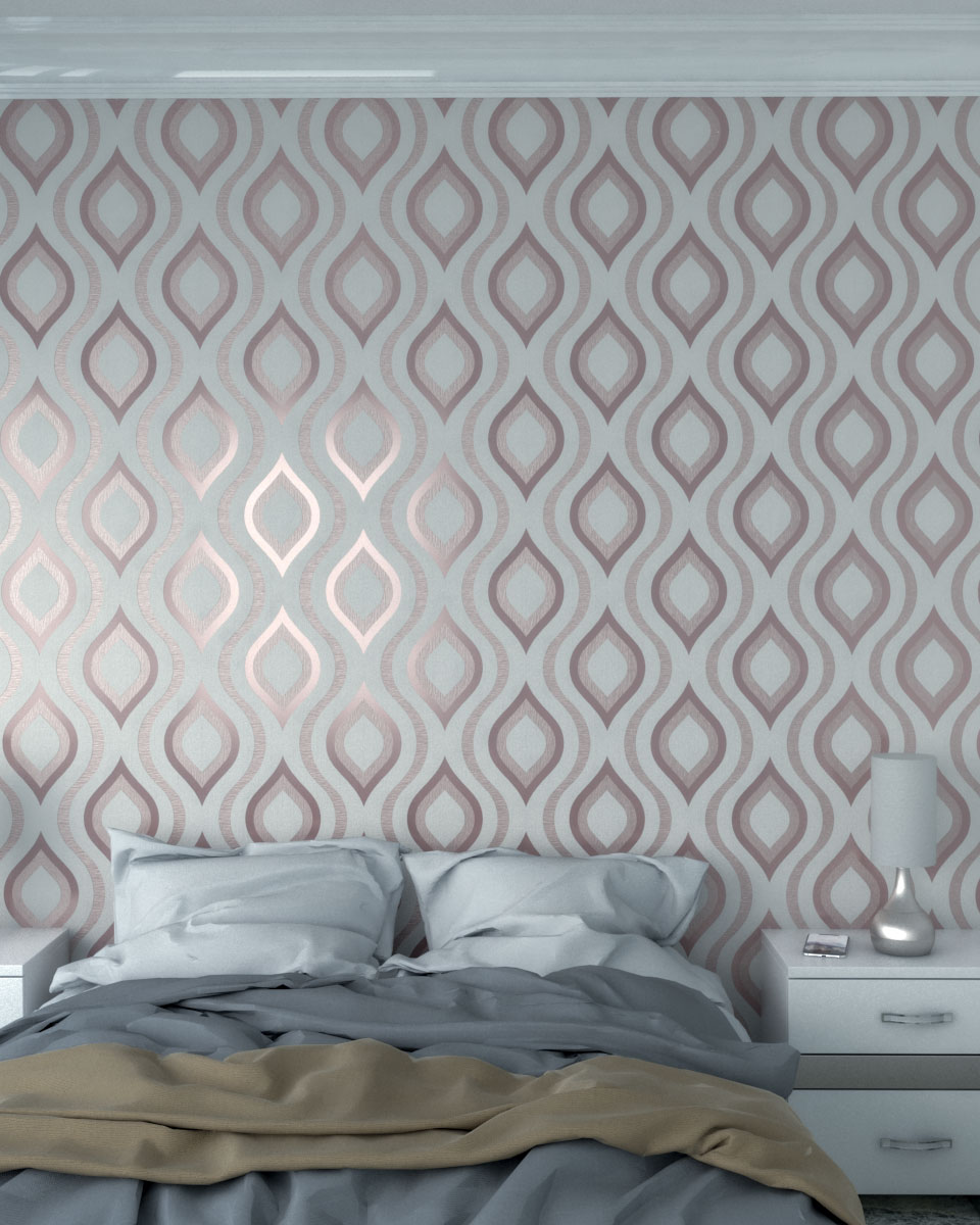 Quartz rose gold curved geometric wallpaper