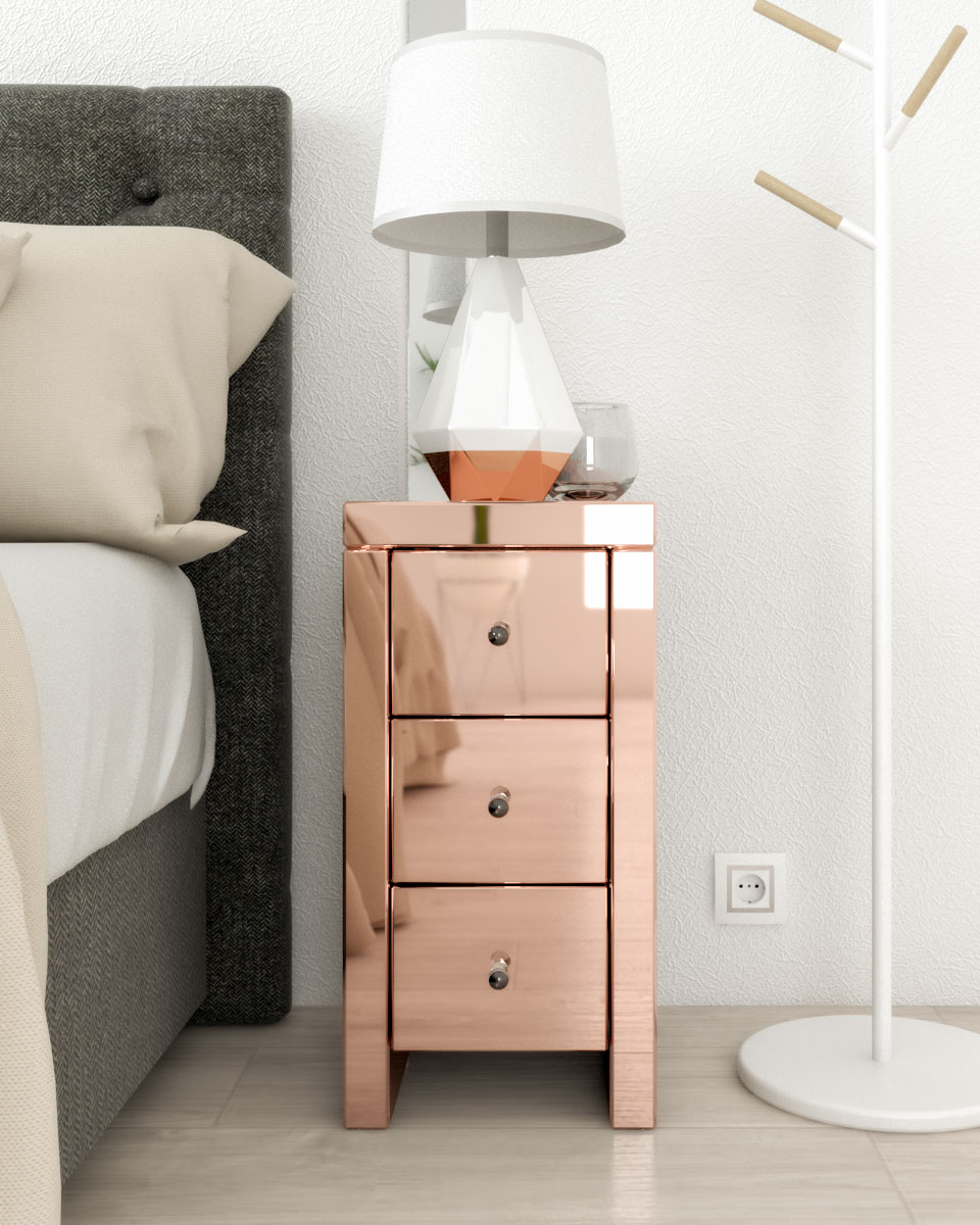 3 drawers nightstand table with smooth mirror finish