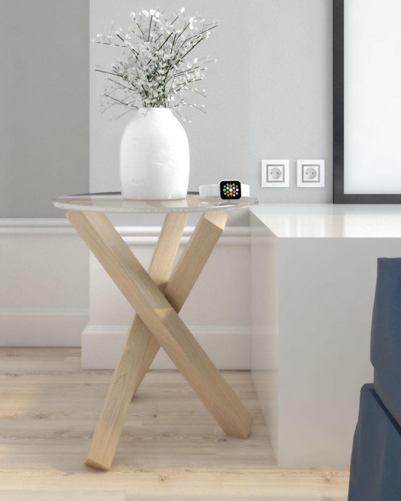 Scandinavian style round glass top nightstand table